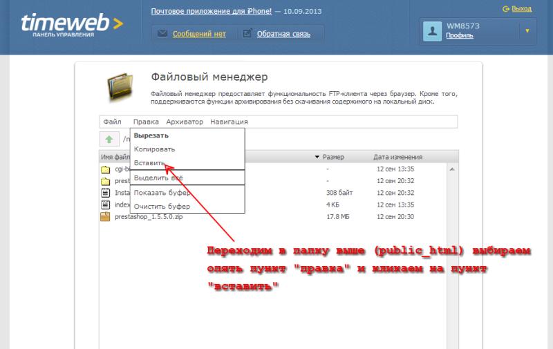 Файловый менеджер - вставили файлы