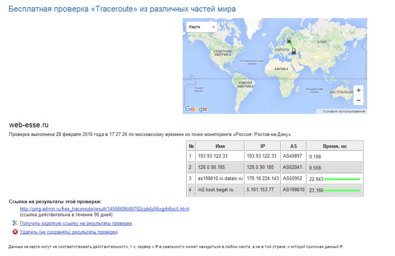 Трассировка из Ростова до Москвы (web-esse.ru)